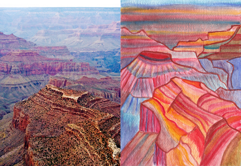 At left: I think this photo was taken from Grandview Point along the South Rim. I might be wrong, though. At right: A watercolor I began at 4 a.m. on April 18, based on the photo.