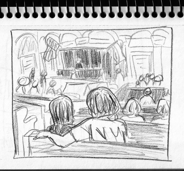A sketched version of the photo. The jury box is at the right. Obviously, you can't tell here how out of focus the jurors were, so you'll have to take my word that they were completely unrecognizable.
