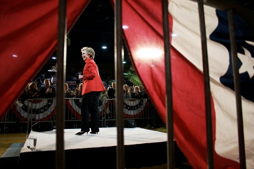 Sen. Hillary Clinton, D-N.Y., concludes her speech to more than 5,000 supporters on Jan. 19, 2008, in the McCluer North High School gym in Florissant, Mo. Clinton had just won the Nevada primary and was beginning her campaign in Missouri and the other Super Tuesday states.