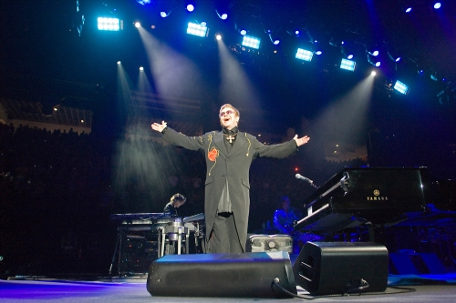 Elton John acknowledges the audience's screams and applause after making his entrance on Oct. 5, 2007, in Mizzou Arena. During an encore, John wore a headband with tiger ears, which a Missouri fan gave him in anticipation of the Tigers' football game against Nebraska on Oct. 6.