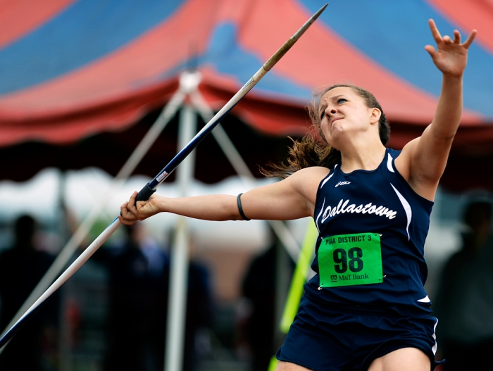 Dallastown's Lillian Cook throws the javelin for 117 feet, 9 inches on the first day of the District 3 track and field championships on Friday, May 16, 2014, at Shippensburg University. Chris Dunn — Daily Record/Sunday News