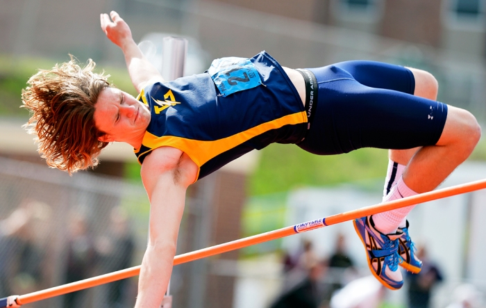 Littlestown's Lucas Reynolds fails to clear the high jump at 6 feet, 2 inches on the first day of the District 3 track and field championships on Friday, May 16, 2014, at Shippensburg University. Chris Dunn — Daily Record/Sunday News