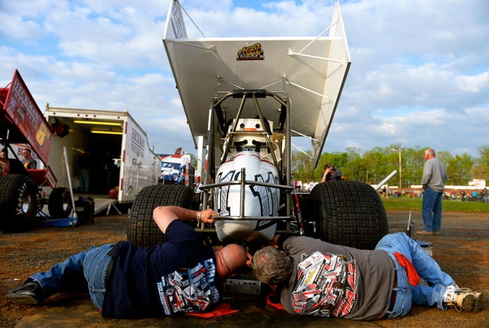(Left to right) Crew members Vince Hamberger and David Rohrbaugh change out the rear gears of York driver Cory Haas' car before the World of Outlaws and the Pennsylvania Posse raced at Williams Grove Speedway on Friday, May 16, 2014. The World of Outlaws raced their first night of the season at Williams Grove against the Pennsylvania Posse on Friday, May 16, 2014. Chris Dunn — Daily Record/Sunday News