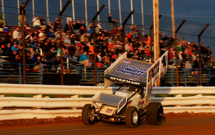 Hanover driver Logan Schuchart, in his first season in the World of Outlaws, drives a time trial before racing the Pennsylvania Posse at Williams Grove Speedway on Friday, May 16, 2014. The World of Outlaws raced their first night of the season at Williams Grove against the Pennsylvania Posse on Friday, May 16, 2014. Chris Dunn — Daily Record/Sunday News